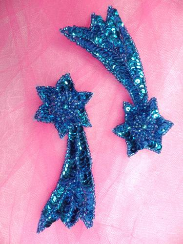 Shooting Star Turquoise Beaded Sequin Appliques