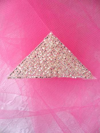 FS865 Silver Triangle Beaded Applique 2.5
