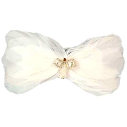 E4152  White Crystal Feather Applique Brooch 5\