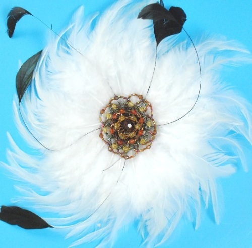 RME4162   White Victorian Feather Brooch / Applique 9  Available in 3 Colors
