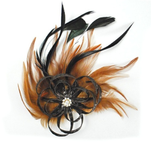 E4163  Rhinestone Feather Brooch / Pin Brown Vintage Style