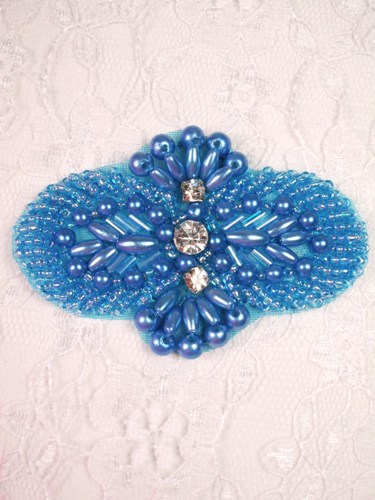 FS04 Blue Beaded Rhinestone Applique 2.75