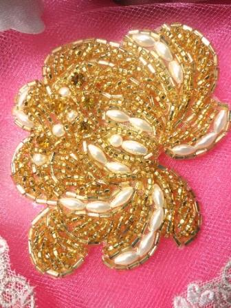 FSSF08 Gold Pearl Rose Beaded Applique w/ Gold Rhinestones  3.25\