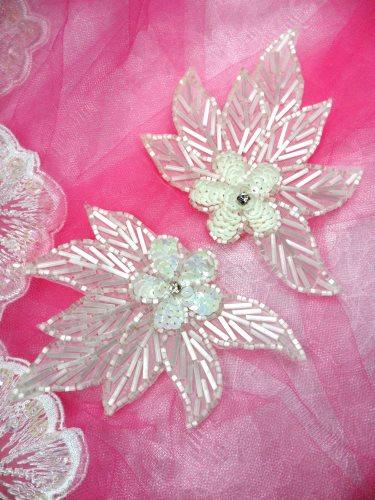 FS1020 White Satin Flower Mirror Pair Beaded Sequin Appliques 4.5\