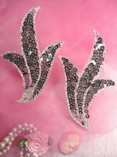 FS1023B Silver Mirror Pair Beaded Sequin Appliques 4\