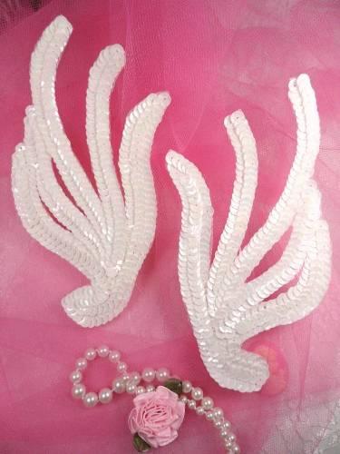 FS1061X White AB Mirror Pair Sequin Appliques 6\
