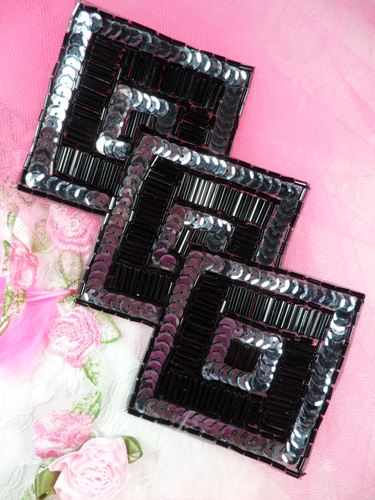 FS1158 Gunmetal Black Triple Diamond Beaded Sequin Applique 7