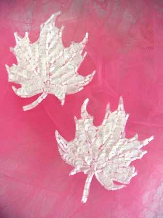 FS1337 White AB Leaf Mirror Pair Beaded Sequin Appliques 3.75