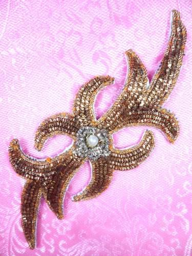 FS1386 Gold Silver Metallic Thread Applique 5.25\