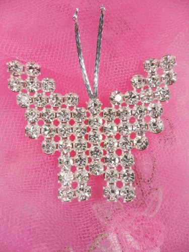 FS14381 Silver Crystal Clear Butterfly Applique Embellishment 2