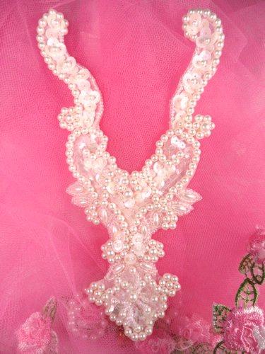 FS146 White AB Beaded Sequin Neckline Collar Applique