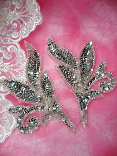 FS145 Silver Mirror Pair Beaded Sequin Appliques 7\