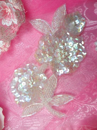 FS1586 Crystal Iris Pearl Floral Beaded Sequin Applique 6\
