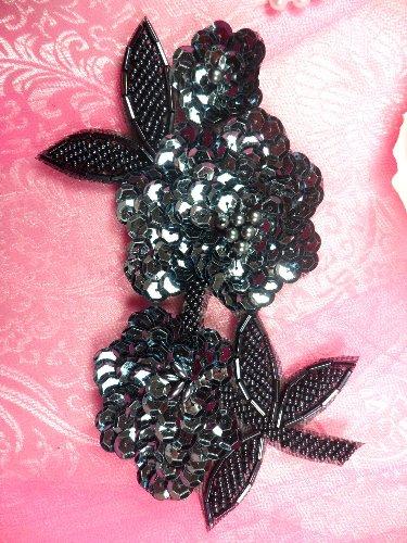 FS1586 Floral Beaded Sequin Gunmetal Applique 6\