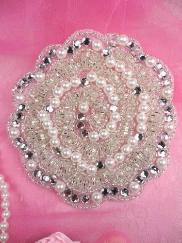 FS178 Silver Pearl Beaded Crystal Rhinestone Applique 4\
