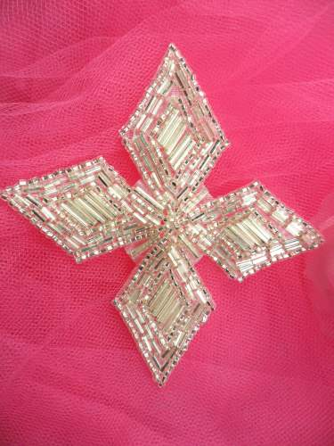 FS182 Silver Beaded Applique Patch 3.5\