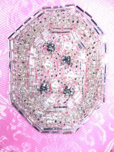 FS183 Silver Pearl Beaded Rhinestone Applique 2.5\