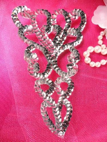 FS1863 Sequin Applique Silver Dance Patch Motif 5\