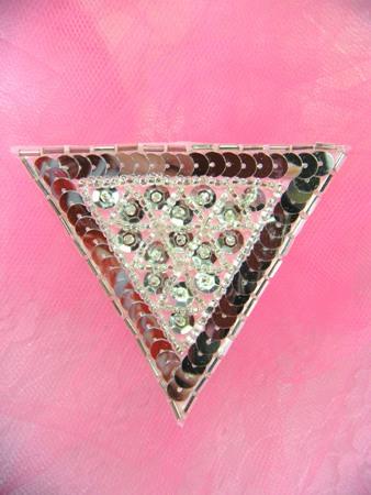 FSV190 Silver Triangle Beaded Sequin Applique 3\