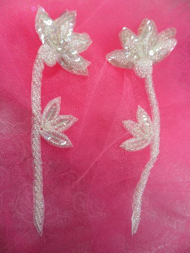FS1961 Crystal Iris AB Sequin Beaded Mirror Pair Floral Appliques 6\