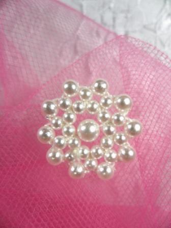 FS2233 White Pearl Beaded Applique 7/8\