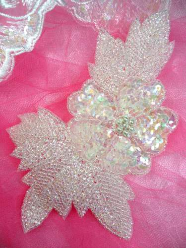 FS2271 Crystal AB Rose Sequin Beaded Applique 6.5\