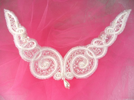 FS228 Crystal AB & White Beaded Collar Applique 6\