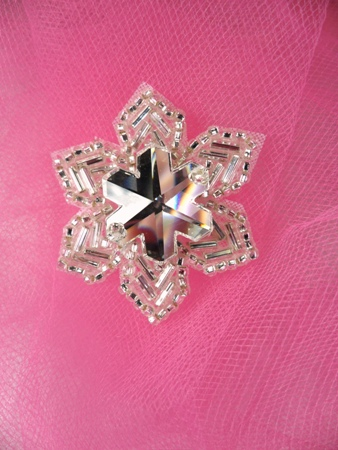 FS2360 Snowflake Jewel Beaded Applique 1.5