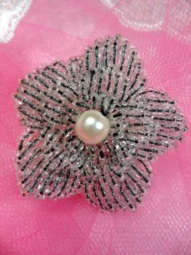 FS2442 Crystal Floral Beaded Black Pearl Applique 1.5\