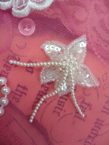 FS2587 Floral Dangle Crystal Iris Beaded Sequin Applique Pair 2.75\