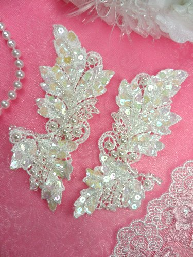 FS2643x Crystal Iris Pearl  Appliques Venice Lace Floral Sequin Beaded Mirror Pair 5\