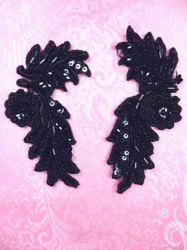 FS2644 Black Appliques Venice Lace Floral Beaded Mirror Pair 4\