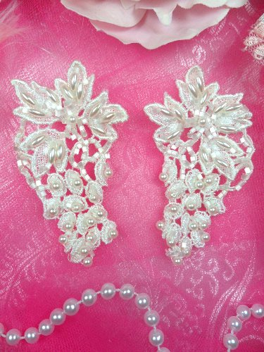 FS2646A Satin Pearl Appliques Venice Lace Floral Beaded Mirror Pair 3\