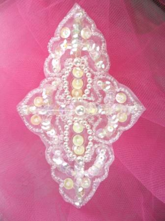FSV293 Crystal AB White Pearl Sequin Beaded Applique 4.75\