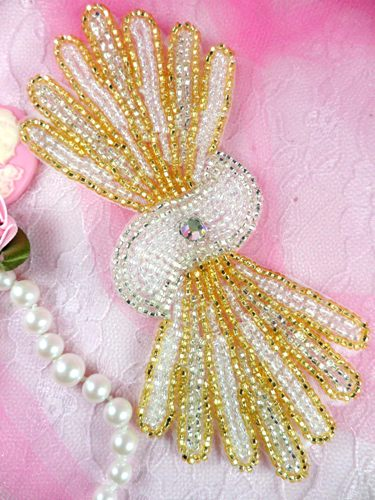 FS3161 Gold Silver Crystal AB Beaded Applique 5.25\