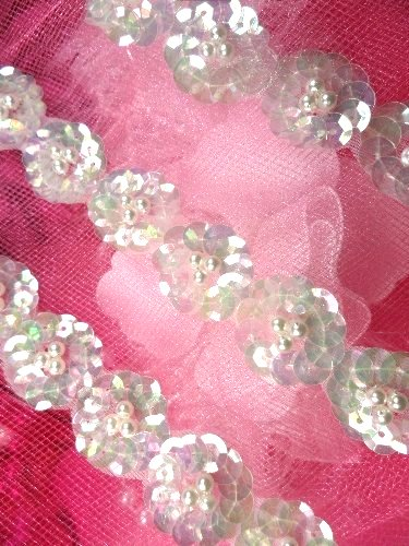REMNANT Aurora Borealis Crystal AB Floral Vine Beaded Trim 18 (RMFS3162)