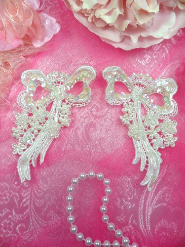 FS3225x Crystal Iris Pearl Bow Appliques Venice Lace Floral Sequin Beaded Mirror Pair 3\