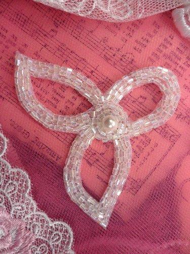 FS3253 Designer Applique Crystal Iris Beaded Pearl 3\