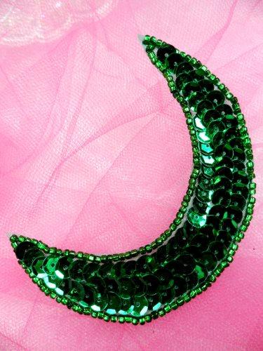 FS3379 Moon Green Applique Sequin Beaded Patch 3.5