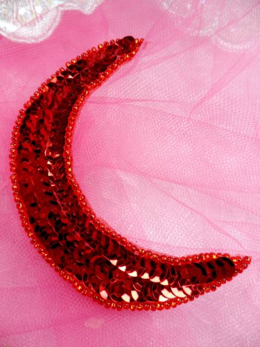 FS3379 Moon RED Applique Sequin Beaded Patch 3.5