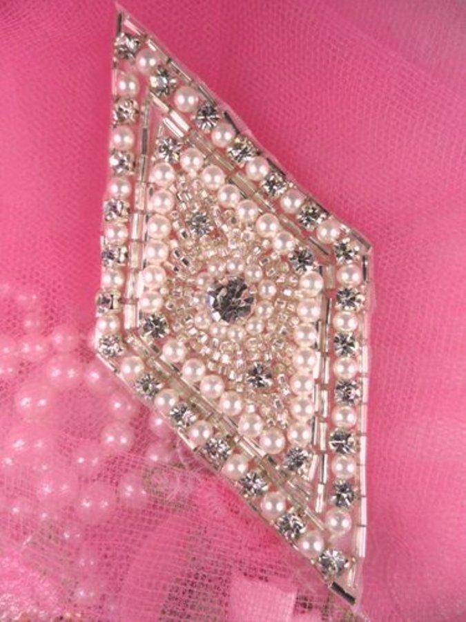 FS338 Crystal Clear Pearl Rhinestone Diamond Beaded Applique 4\