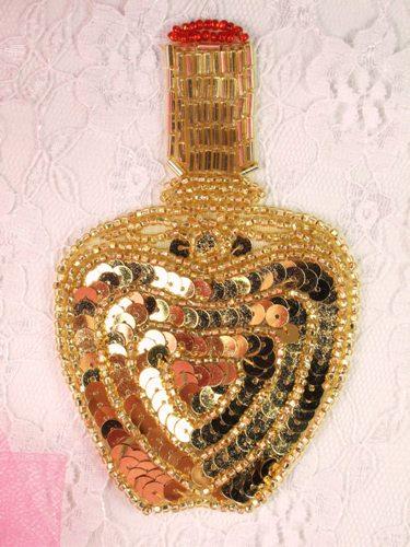 FS3446 Gold Perfume Bottle Beaded Sequin Applique 4.25