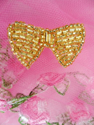 FS346A Gold Bow Beaded Applique 1.5