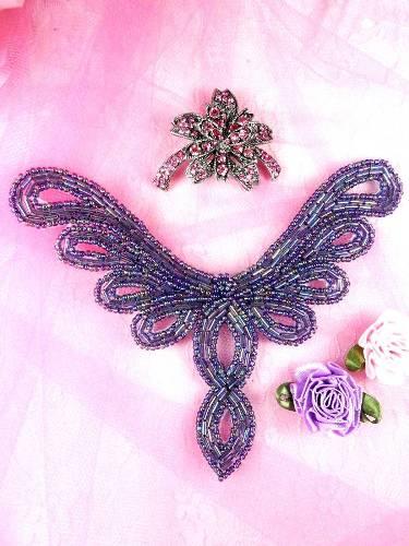 FS354 Purple AB Beaded Collar Applique 5.5\