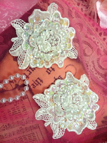 FS3741x Crystal Iris Pearl Appliques Venice Lace Floral Sequin Beaded Mirror Pair 3