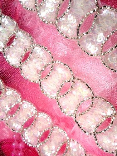 FS3829 Eternity Ring Crystal AB Aurora Borealis Silver Beaded Sequin Trim