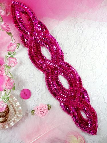 FS400 Fuchsia Designer Sequin Beaded Applique 11\