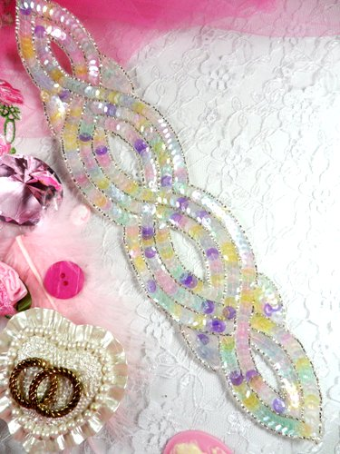 FS400 Pastel Designer Sequin Beaded Applique 11\