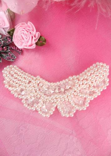 AFS4072 Butterfly Antique White Pearl Beaded Crystal Sequin Applique 3.75
