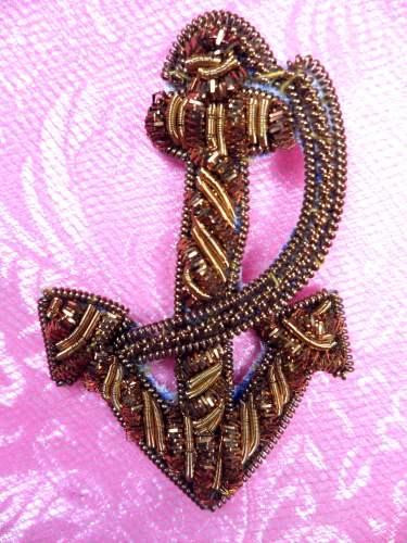 FS446 Gold Metallic Anchor & Rope Applique 2\